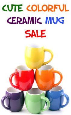 Cute Colorful Ceramic Mug Sale: $14.99 {set of 6} #coffee #mugs #thefrugalgirls