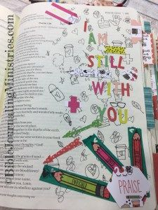 Bible Journaling doesn't have to be so serious. I had a blast doodling in this entry from the book of Psalms. I've used the Doodles to Live By Illustrated Faith Kit.