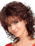 layered curly hair New Auburn Curly Shoulder Length Classic Wigs, Classic Ladies Wig Curly Hair Styles, Curly Hair With Bangs, Short Curly Hair, Short Hair Cuts, Medium Hair Styles, Short Wavy, Curly Bob Hairstyles, Hairstyles With Bangs, Hairstyle Men