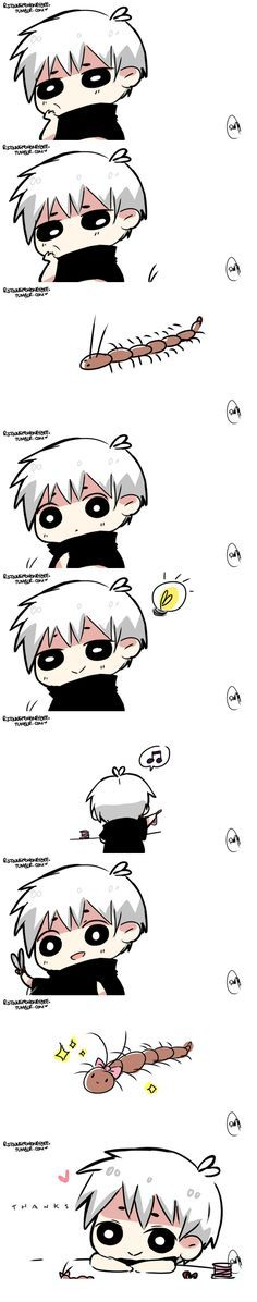 kaneki being cute with a centipede