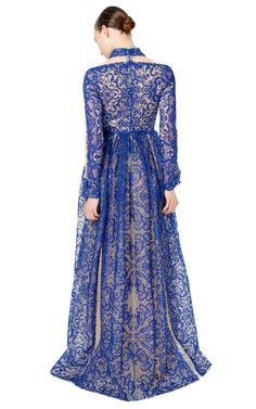 Lace Embroidered Gown With Collar by Valentino for Preorder on Moda Operandi