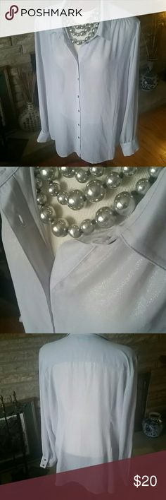 Gap sparkle sheer blouse XXL Pretty sheer blouse for any occasion wear with jeans or dress slacks skirts. Light gray/silver sparkle. Button down front with 2 button at each cuff detail. Gathered design at shoulder. 100% polyester. Lightweight great item! GAP Tops Blouses