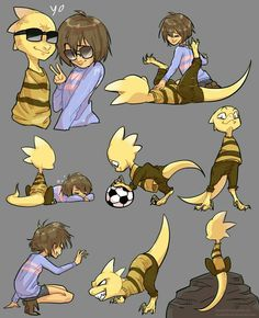 Monster kid and frisk <YESS I always think of MK having a raptorlike appearance.