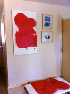 Cynthia Ellis has sent in an image of a diptych in her home, Claremont WA  Left to right and top to bottom:Artist: Cynthia Ellis, Title: Vermillion painting, diptych (hanging and the work on the floor) 2012Artist: Cynthia Ellis, Title: Studies in Dwellingup, drawing, 2009Artist: Cynthia Ellis, Untitled, watercolour, 2010All from the Collection of the artist.   Artist represented by Melody Smith Gallery