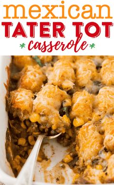 Use ground chicken/turkey Enjoy a fun family dinner with this easy and delicious Mexican tater tot casserole recipe! My kids love this easy tater tot casserole! Tater Tots, Tater Tot Caserole, Mexican Tater Tot Casserole, Cowboy Casserole, Beef Tater Tot Casserole, Ground Chicken Casserole, Tater Tot Nachos, Turkey Casserole, Enchilada Casserole