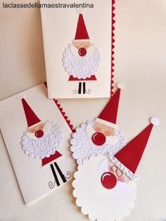 Cute Santa cards and tags. Homemade Christmas Cards, Christmas Gift Tags, Christmas Paper, Kids Christmas, Handmade Christmas, Homemade Cards, Diy Christmas Activities, Holiday Crafts, Punch Art Cards