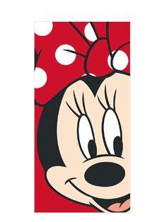 Ihanan pehmeään punaiseen Minni Hiiri-pyyhkeeseen kelpaa hiirifanin kietoutua. Pyyhkeen sisäpuoli on imukykyistä froteeta ja kuvapuoli samettisen pehmeää velouria. Koko 70x140cm. Pesu 60 asteessa.