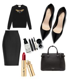 """""""red lips"""" by gwgw-marra on Polyvore featuring Roland Mouret, Burberry, Gucci and Bobbi Brown Cosmetics"""