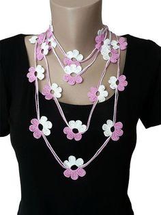 Crochet Flower Necklace Bracelet Jewelry Lariat Scarf by atinqnka, $17.00