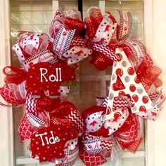 Alabama Deco Mesh Door Wreath Crimson Tide by SouthernWreathsAL Football Wreath, Alabama Football, College Football, Alabama Wreaths, Crimson Tide, Wreath Ideas, Tree Toppers, Deco Mesh, Door Wreaths
