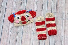 Crochet Raggedy Ann Hat and Leg Warmers Set on Etsy, $35.00