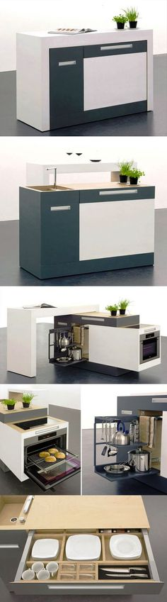 mini kitchen, compact kitchen, small kitchen, space saving kitchen