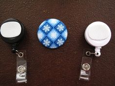 Snow Flake Fabric Covered Button for Clip on by tallulahssatchels (Accessories, Lanyard, badge reel, retractable, badge strap, clip on, lanyard, fabric button, tag holder, id badge reel, name tag, id, velcro button, snow flake fabric, snow flake button)