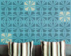 Geometric Square Flower Wall Stencil for Wallpaper Look - hallway: $39.95