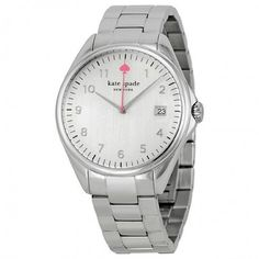 KATE SPADE New York Seaport Watch Stainless steel case with a stainless steel bracelet. Fixed stainless steel bezel. White dial with silver-tone hands. Minute markers around the outer rim. The Kate Spade logo marks the 12 o'clock position. Dial Type: Analog. Date display at the 3 o'clock position. Quartz movement. Scratch resistant mineral crystal. Pull/Push crown. Solid case back. kate spade Accessories Watches