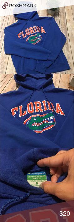 University of Florida UF Gators Champion Hoodie GO GATORS! Classic Champion brand University of Florida (UF) blue hooded sweatshirt (hoodie). Size small. *Chomp chomp* Champion Tops Sweatshirts & Hoodies