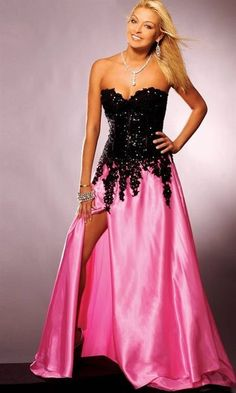 If I do a hot pink and black... This will be the bridesmaids dresses