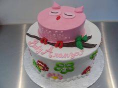 Pink owl baby shower cake   Gala Bakery - San Lorenzo, CA   www.galabakery.com