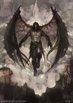 Raven Lord - With Walk-through by GregTaylorArt on DeviantArt - Garbril, Son of Hellas. Demon of Decay - Fantasy Kunst, Dark Fantasy Art, Fantasy Artwork, Fantasy World, Dark Art, Fantasy Men, Fantasy Creatures, Mythical Creatures, Angel Warrior