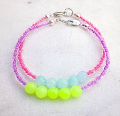 Bracelets neon beaded seed beads jade bracelets.Stack-able, fun, sexy, hottest bracelets you wont find anywhere else. Your going to want these! @Allamode ⓐⓛⓛⓐmode✣✫Creative Pinner✣✫