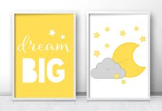 Set of 2 nursery prints in yellow and gray color, stars, moon and cloud nursery wall art with a Dream big quote. This nursery print set would make a great addition to any nursery or toddler room. ------------------------------------------------------- ♡ INSTANT DOWNLOAD FEATURES: ------------------------------------------------------- - 2x high resolution (300 dpi) PDF files - size 8x10 inches - 2x high resolution (300 dpi) PDF files - size 11x14 inches  I offer size customization for free…