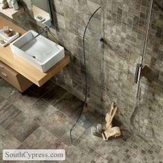 Bathroom remodeling ideas and bathroom flooring. Find great ideas for your bathroom's backsplash, floor, shower, or tub surround. Marazzi Tile, Bathroom Design Inspiration, Design Ideas, Warehouse Design, Stone Bathroom, Tub Surround, Bathroom Renovations, Bathroom Ideas, Floor Design