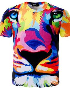 Lion Original Printed Short Sleeve Shirt Size XS-2XL Big,King of The Forest Lion