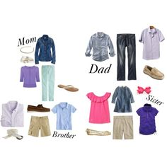 family photo shoot outfits ideas for spring | ... To Wear For a Family Photo Session » blue,pink,purple family outfits