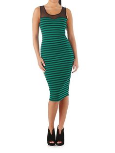 Striped Midi Dress with Sheer Top