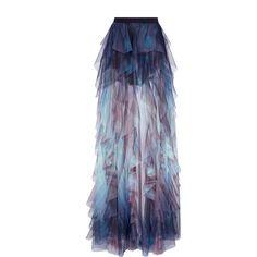 Elie Saab Tulle Ruffled Maxi Skirt (39.379.540 IDR) ❤ liked on Polyvore featuring skirts, print, floor length tulle skirt, maxi skirt, high-waisted maxi skirt, ankle length skirts and high waisted long skirt