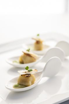 Gnocchi with Peas and Lemon Baked Ricotta #culinarycapers #canape #horsdoeuvre #catering http://www.culinarycapers.com/ Photo: Chef Margaret Chisholm