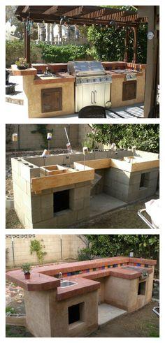 DIY Concrete Cinder Blocks Outdoor Barbecue Kitchen