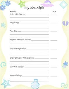 """Free Printable Baby Book Page, """"My New Skills"""""""
