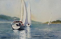 Calm Water on Race Day by Poppy Balser Watercolor ~ 7 x 10