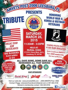 March 28th  Salute and Recognition  to Veterans of WW II, Korea and Vietnam  Join us as we Honor our Oldest Living Heroes