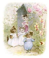 """maman chat a débarbouillé ses chatons avant de les brosser et de les habiller... malheureusement, Tom Kitten et ses sœurs, partis jouer dehors, ne vont pas rester longtemps impeccables !... 27 adorables illustrations tirées de """"The Tale of Tom Kitten"""" (édition de 1907) à télécharger..."""