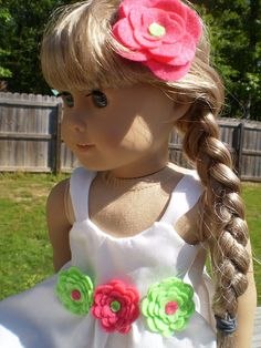 White summer dress with flowers 18 Doll by sassydollcreations, $10.99