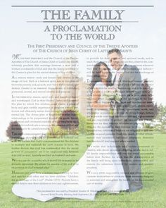 Just print the Family Proclamation on velum off lds.org and put the velum over an 8 x 10 picture.  Great wedding gift idea!