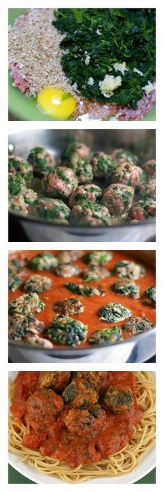 Spinach Meatballs with Spaghetti | 5DollarDinners.com