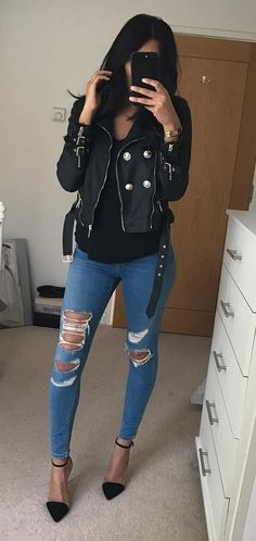 Black Leather Jacket // Black Top // Destroyed Skinny Jeans // Black Pumps                                                                             Source