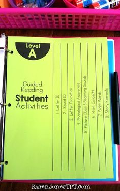 Guided Reading lesson plans and activities for Kindergarten. Streamline your reading groups and target your teaching. For Guided Reading Levels A-E. Guided Reading Lessons, Guided Reading Levels, Reading Skills, Teaching Reading, Guided Reading Activities, Guided Reading Binder, Writing Lessons, Guided Math, Teaching Ideas