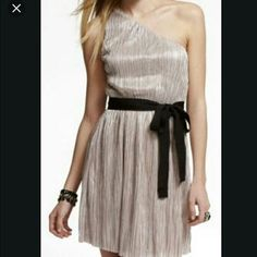 Express Silver One Shoulder Dress Xs