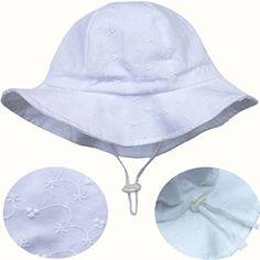Eyelet Baby Sun Hat 50+ UPF Cotton Size Adjustable + Chinstrap(S: 0 - 9m,White eyelet)