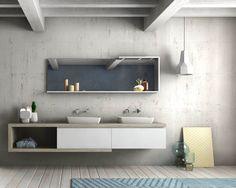 SHOP@CORO.IT   ambiente completo preview sistema gola, legno spazzolato, spessore 5 cm #bathroom #design #bagno #arredamento #interiors
