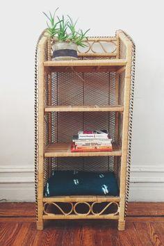 Vintage Wicker Shelf / Natural Rattan By QuinnVintageandFound