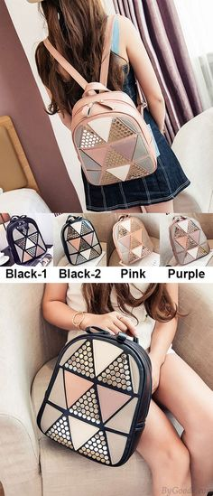 Which color do you like? Fashion Girl's School PU Splicing Triangles Sequins Backpack Leisure Rivet Backpack #fashion #PU #leisure #rivet #backpack #bag #School