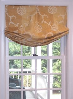 DR - Inside mount relaxed roman shade with small center pleat; maybe add some trim Valance Window Treatments, Kitchen Window Treatments, Custom Window Treatments, Window Coverings, Curtains With Blinds, Blinds For Windows, Roman Blinds, Fabric Blinds, Burlap Curtains