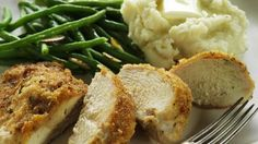 I made this chicken tonight and all I want to do is eat what I put aside for Mike. Gah!   1/2 cup mayo mixed with 1/2 packet ranch mix. Dip chicken breasts in mixture, then dip chicken into breadcrumbs. Bake at 400degrees for 25 min. Yum!