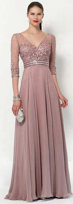 Popular Tulle & Silk -like Chiffon V-neck Neckline 3/4 Length Sleeves A-line Mother Of The Bride Dresses With Beadings