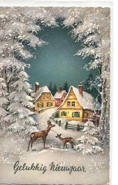 New Year vintage postcard Deer snowscape by sharonfostervintage